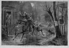 PAUL REVERE'S MIDNIGHT HOREBACK RIDE BY HENRY W. LONGFELLOW ANTIQUE ENGRAVING