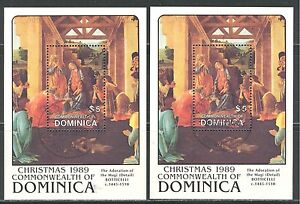 DOMINICA 1989, ART: BOTTICELLI PAINTINGS, CHRISTMAS, Sc 1226 x 2, VERY FINE USED