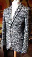 "Men's Topman Vintage Style Tweed Jacket 38"" Chest Check Blazer"