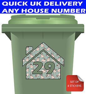 Personalised Bin Stickers - Wheelie Bins with House Number Pug Design - 4 Pack