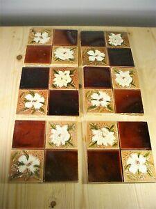 SIX Antique Floral Reclaimed Fireplace Tiles