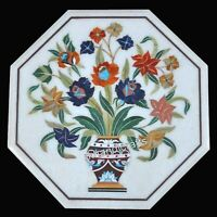 Colorful Stones Flower Work Inlay Sofa Side Table Top Marble Coffee Table Top