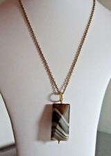 "Brown Striped Agate, 4x2cm, Pendant on a 19"" Antique Bronze Plated Chain"