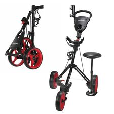 Caddymatic Golf X-TREME 3 Wheel Push/Pull Golf Cart with Seat Black/Red