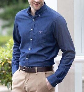 GANT Men's Indigo Regular Button Down Shirt For Men
