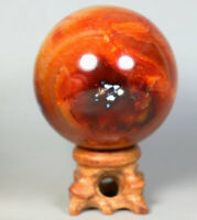 255g Natural Colorful Red Orange Carnelian Agate Geode crystal sphere Ball Stand