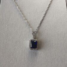 PE Vintage Style Blue Sapphire & Sim Diamond White Gold Pendant Chain Plum UK