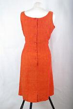 P266/06 Gioni Feroti Vintage Linen Orange Sleeveless Pencil Dress , size XL