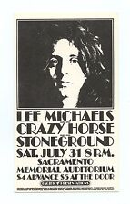 Lee Michaels Crazy Horse Stoneground 1971 Jul 31 Sacramento Memorial Handbill
