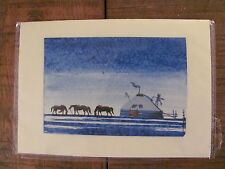 Mongolia landscape original painting ger yurt horses approx. 6 in.X 4.25 card