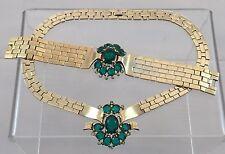 Antique Designer Trifari Gold Emerald Green Rhinestone Necklace Bracelet Set