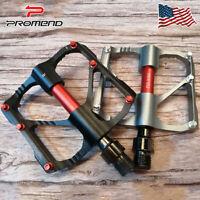 PROMEND PD-M86 MTB Cycling 3 Bearings Chrome Pedal Non-slip Flat/Platform Pedals