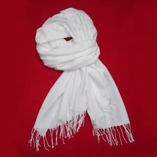 SALE Neu Damen Weiß Schal Halstuch Tuch Überwurf Kopftuch Damenschal lang uni