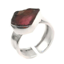 Solid 925 Sterling Silver Rough Pink Tourmaline Jewelry Ring IN-1808