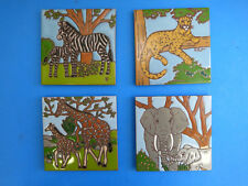 Ceramic Art Tile 6x6 4pc Wildlife Safari Zoo Set Elephant Lion Zebra Giraffe L83