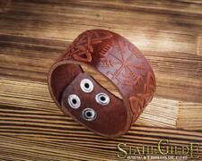 Leather Bracelet Cuff Wristband Celtic Knotwork Vegvisir Futhark Runes Viking Br