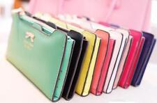 PL Women's lady Soft Leather Bowknot Clutch Wallet Long Card Purse Handbag uk