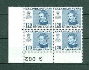 Greenland.1 Mnh 4-Plate Block 1974  # G 002. 120  Ore  Queen  Engraver Cz Slania