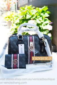 BNWT GUESS JENSEN Large Shoulder Bag Handbag Tote Satchel Wallet Clutch Set Coal