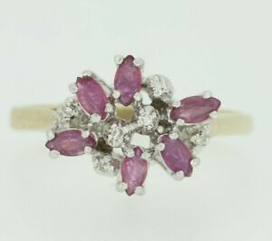 9ct Gold Ring - 9ct Yellow Gold Pink Sapphire & Diamond Ring Size M