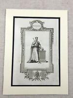 1791 Print King Richard I of England Royal Portrait Original Antique Engraving