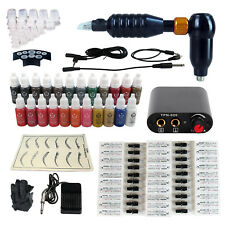 Rotary Tattoo Machine Permanent Makeup Kit 50 Cartridges Power Supply Inks Set