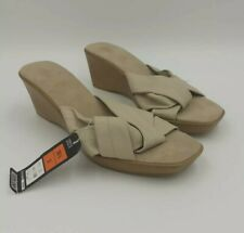 M&S Italian Leather Wedge Heel Sandals UK 3 Alabaster Cream Slip On Comfort Shoe