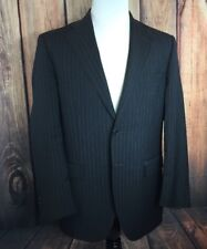 LUCIANO BARBERA Charcoal Gray Blue Pinstripe Mens 42R Wool Sports Coat ITALY