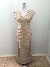 Adrianna Papell Gold Shimmer Tiered Ruffle Crystal Sleeveless Long Dress Gown 6