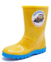 BOYS KIDS YELLOW DIGGERLAND WELLIES RAIN SPLASH SCHOOL WELLINGTON BOOTS UK 5-1