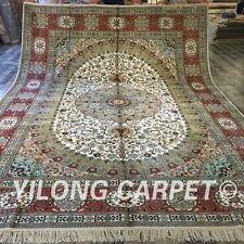 Yilong 10'x14' Huge Silk Oriental Area Rug Hand Knotted Nain Classic Carpet 003M