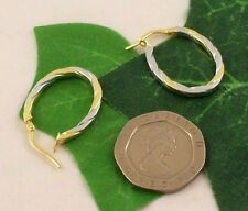 Sassi LER1517 Ladies 375 9ct Yellow & White Gold Creole Hoop Leverback Earrings