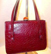Magnifique Vintage Années 1940 Best of New York en Cuir Rouge Sac a main bakelite Top