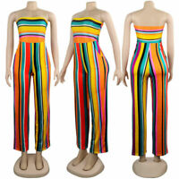 Jumpsuit Colorful Women Casual Strapless Party Legs Wide Fashion Striped Pockets