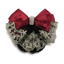 Burgundy Lace Satin Lady Cover Bowknot Barrette Hair Clip Bowknot Net Bun Snood