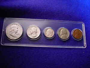 1951-S 5 COIN SAN FRANCISCO MINT SET KEY DATE COINS 90% SILVER!   #380