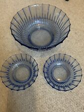 Set Of 3 Blue Glass Bowls 1 Large 2 Small Used