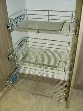 3 x Pull out Wire Basket Chrome Kitchen - Bedroom Drawer Storage (500mm)