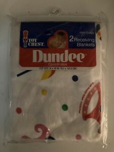 """Vintage Dundee Two Receiving Blankets Toy Chest Pattern Rattles NOS 30"""" x40"""""""