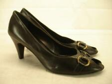 womens 11 sz 41 franco petriccione shoes black pump high heels horsebit peep toe