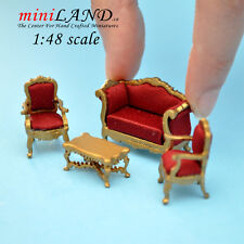 1:48 Scale Victorian living room set, 4pcs Gold Sofa, 2 chairs Top Quality 1/48
