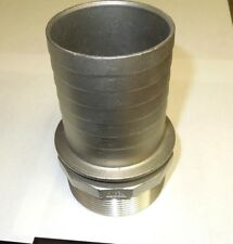 """HOSE BARB for 3"""" ID HOSE X 3"""" MALE NPT HEX BREWING 316 STAINLESS <701WH"""