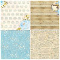 """12pcs Retro Blau Blume Paper Hintergrund DIY Scrapbooking Album Origami Card 6"""""""