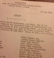 Original 1943 WWII AAF Extract List Pilot Graduation 2 Sided Page