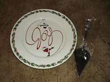 "International Silver Co JOY Cake Plate and Serving Utensil 12 1/4"" Christmas"