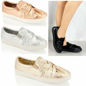 Womens Ladies Flat Slip On Bow Knot Twist Sneakers Trainers Plimsole Shoe Size 3