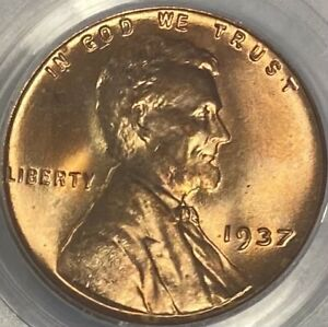 1937-P PCGS MS66RD Red Lincoln Cent Wheat Penny Brilliant UNC Gem!