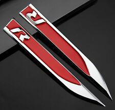 2pcs Auto Metall Schriftzug Aufkleber Emblem für Dolch R R-line Racing Rote NEU