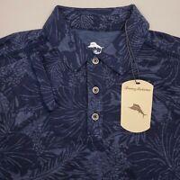 Tommy Bahama Long Sleeve Hawaiian Polo Shirt Mens Size Medium Floral Blue