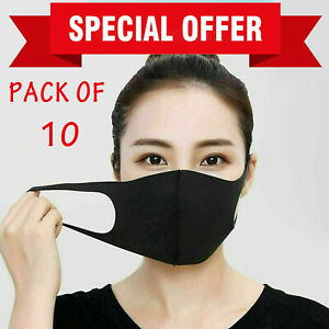 Pack of 10 FACE MASKS Washable Reusable for ADULTS in BLACK